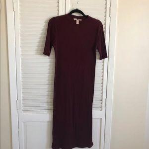 Burgundy Midi Sweater Dress L